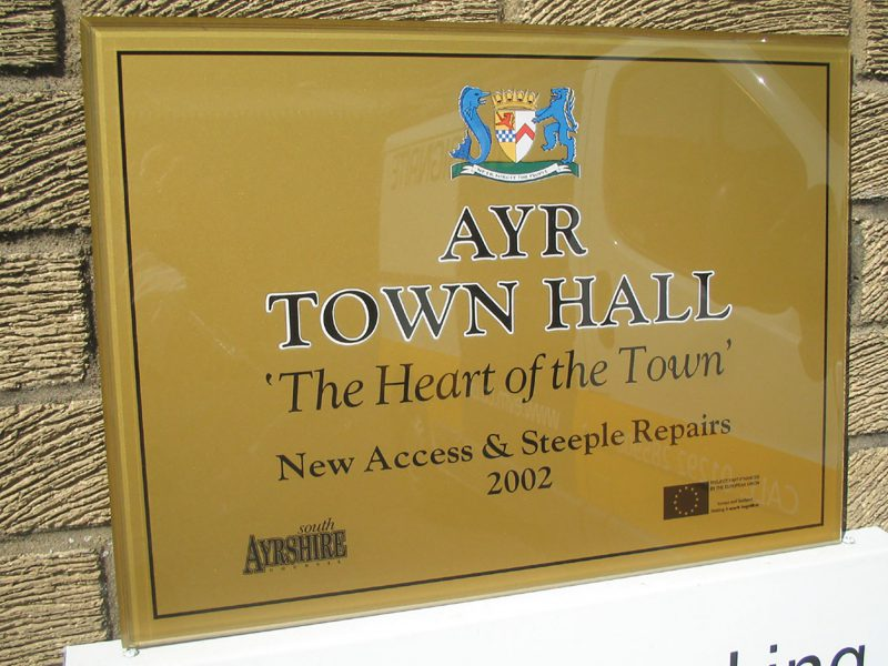 Ayr Townhall Plaque