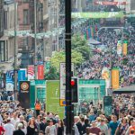 Buchanan Street Crowds Banners Flags