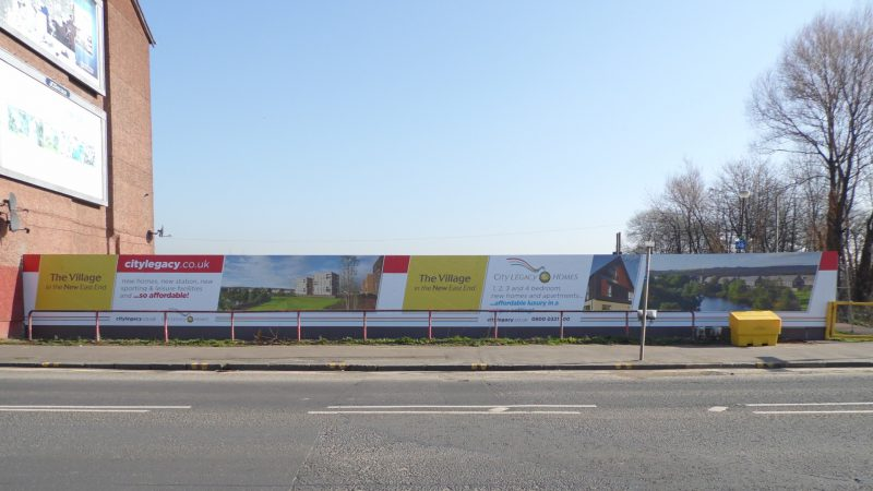 Branded hoarding Dalmarnock Road