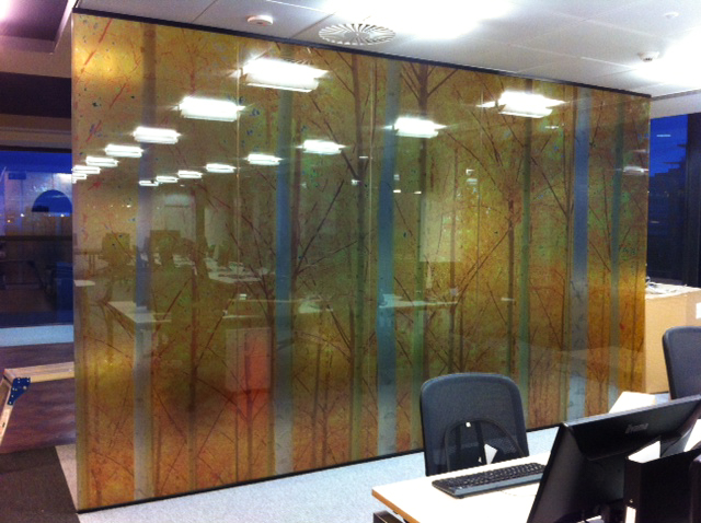 Printed Tree Design Vinyl Onto Glass Panels