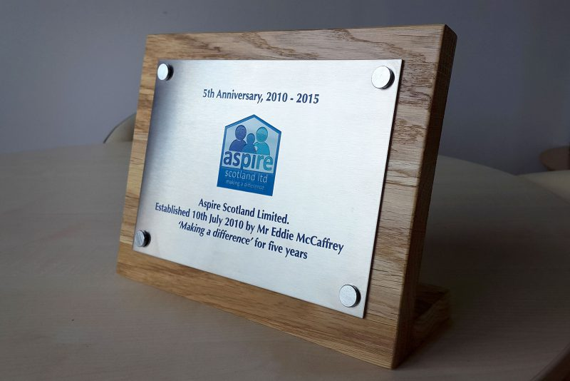 Aspire Scotland 5th Anniversary Plaque