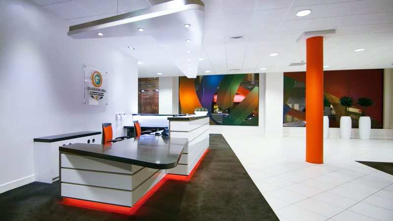 Corian Reception Desk Glasgow Commonwealth Games HQ