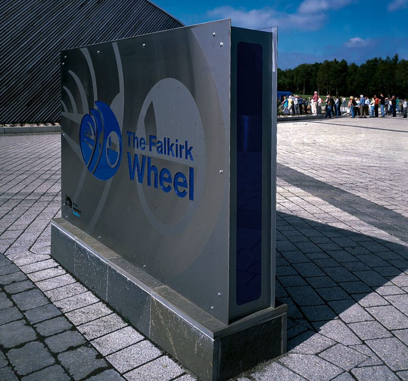 Falkirk Wheel Stainless Steel Monolith with Colour Infill