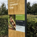 Oak Monolith Directional Sign with Printed Aluminium Panels