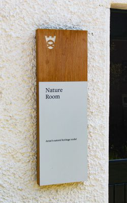 Wall Mounted Oak Directional Sign with Aluminium Printed Panel