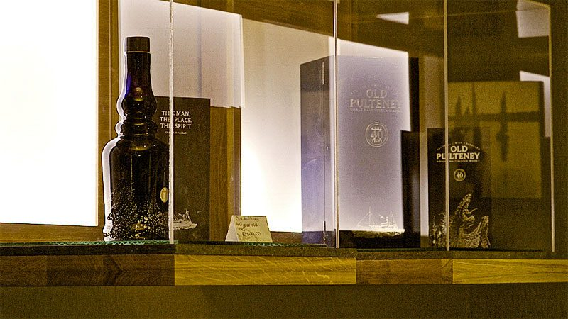 Old Pulteney Bespoke Oak and Glass Display Case