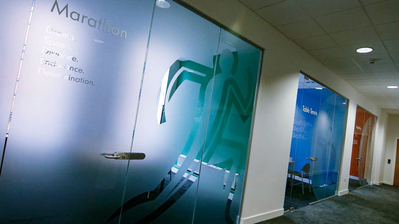 Pictogram Applied as Frosted Film to Office Windows