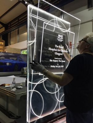 Queen Elizabeth Hospital Illuminated Plaque Assembly