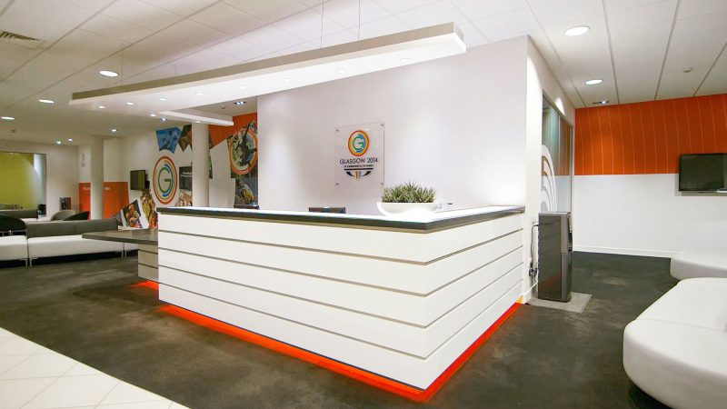 Reception Desk and Branded Interior