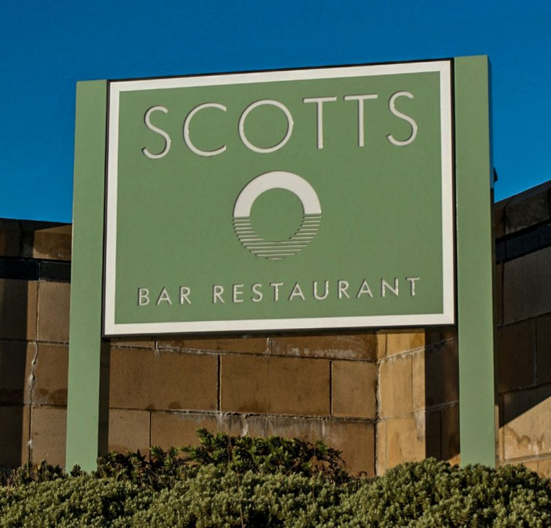 Scotts Restaurant Internally Illuminated Panel and Post Sign