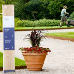 Wayfinding Oak Monolith with Printed Aluminium Panels