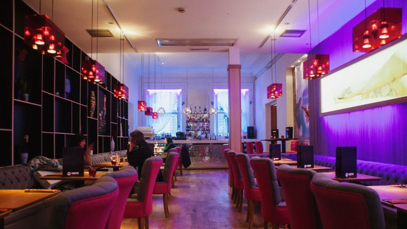 Glitzy bar and restaurant interior fit out