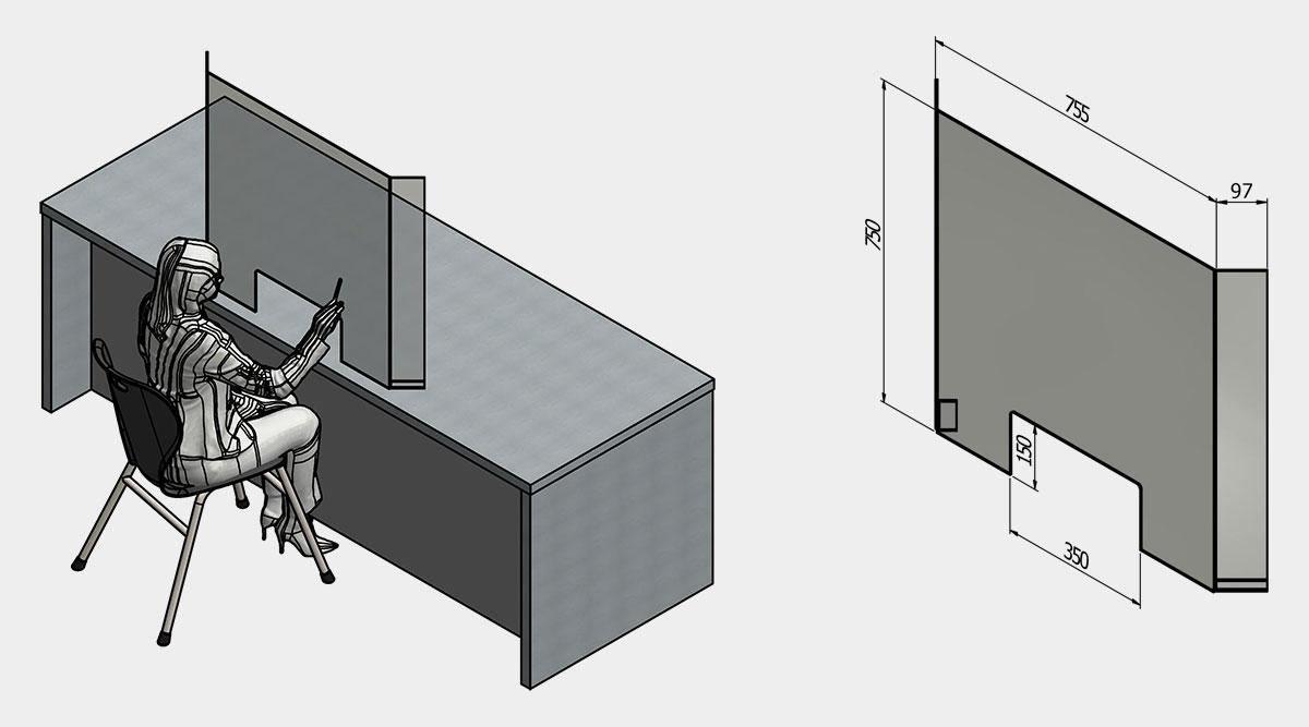 Acrylic Customer Service Desk Screen (Angled)