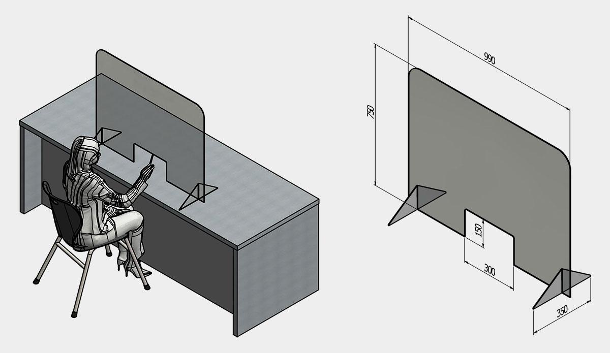 Acrylic Customer Service Screen (Freestanding)