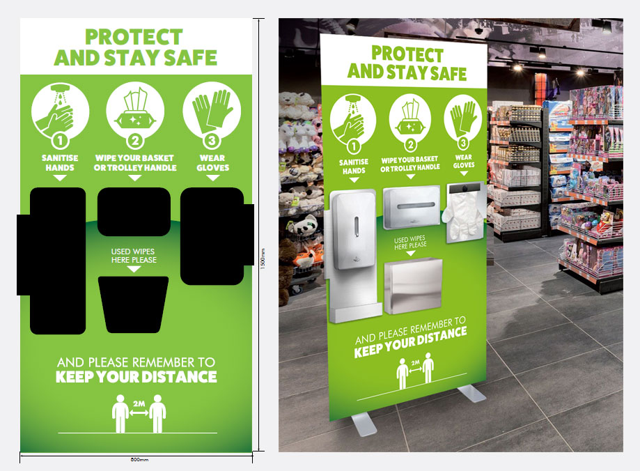 Free Standing Hygiene Station for Retailers