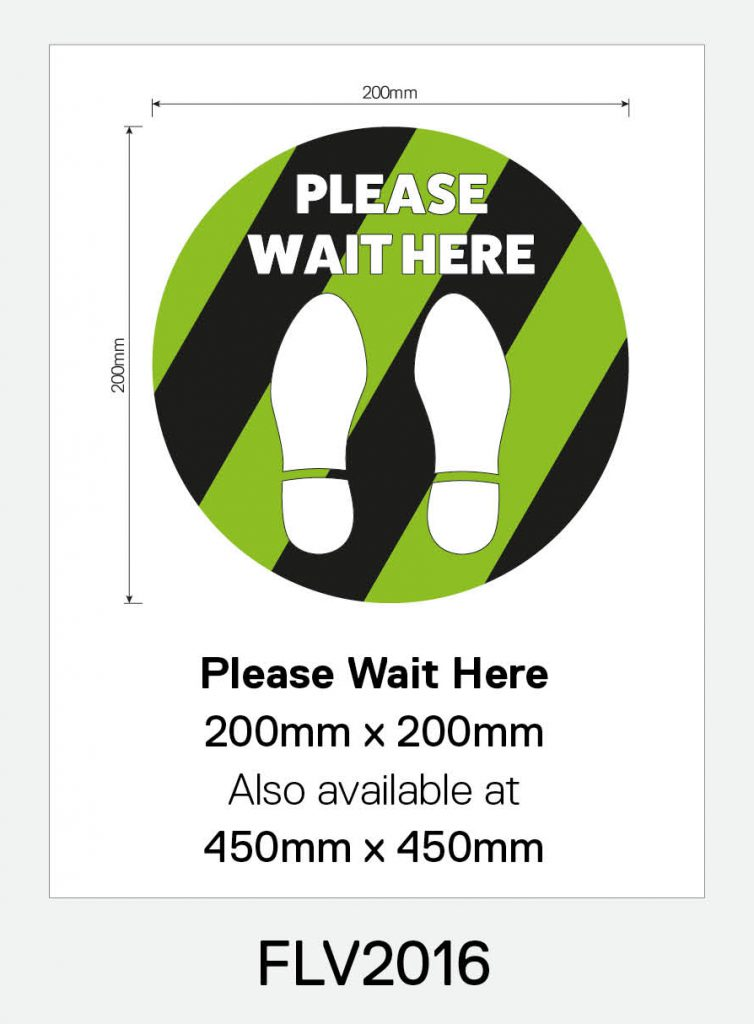'Please Wait Here' Vinyl Floor Sign