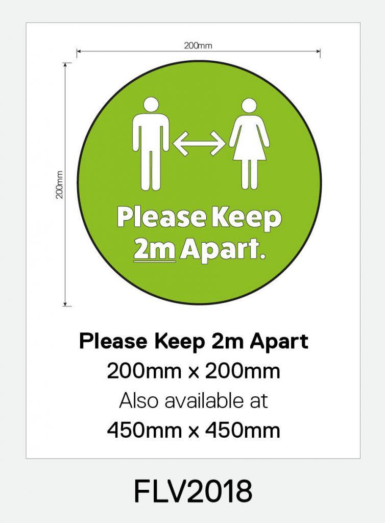 'Please Keep 2m Apart' Vinyl Floor Sign