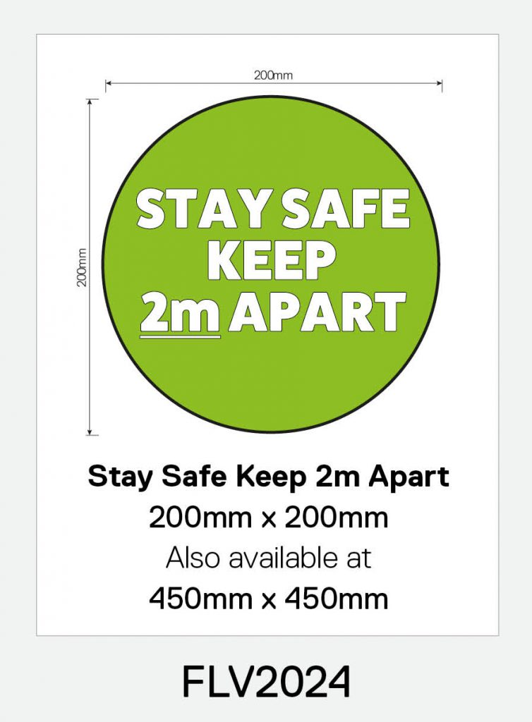 'Keep Safe Stay 2m Apart' Vinyl Floor Sign (Circle)