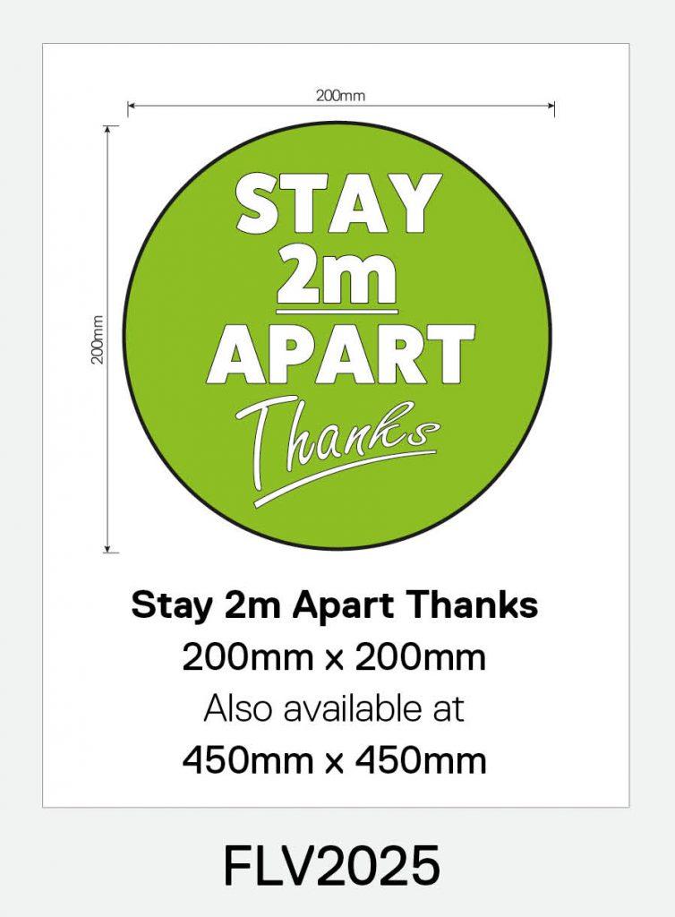 'Stay 2m Apart Thanks' Vinyl Floor Sign