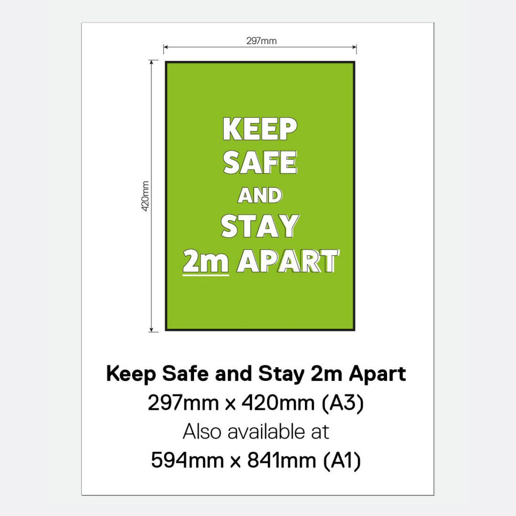 'Keep Safe and Stay 2m Apart' Vinyl Wall Sign