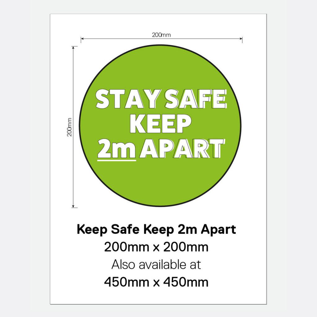 'Stay Safe Keep 2m Apart' Vinyl Wall Sign