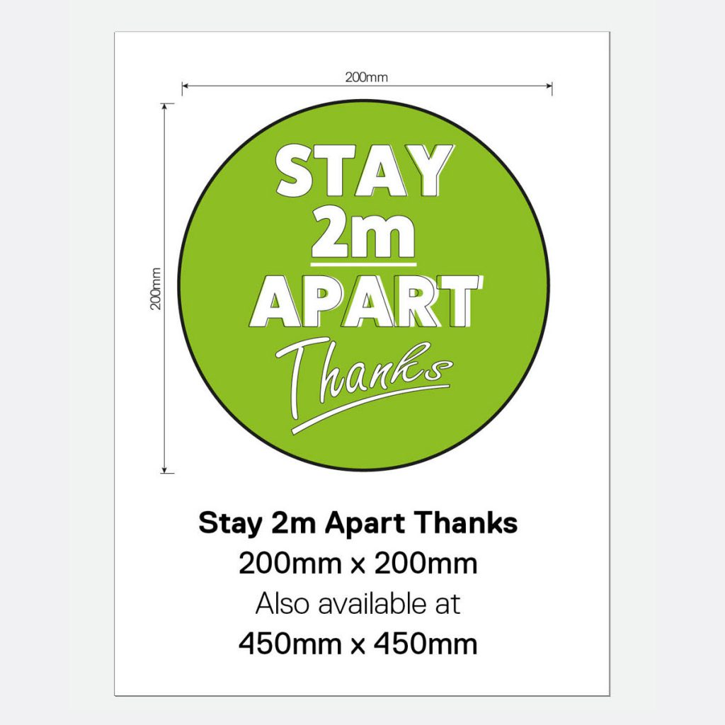 'Stay 2m Apart Thanks' Vinyl Wall Sign