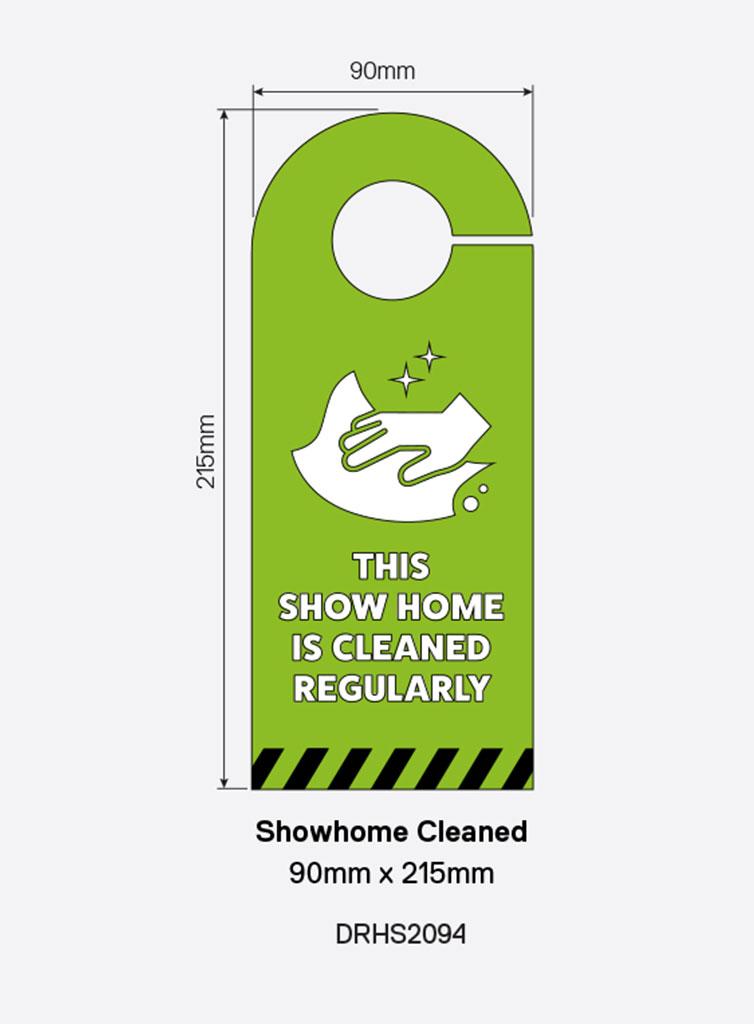 Door Handle Sign – `Show Home Cleaned`