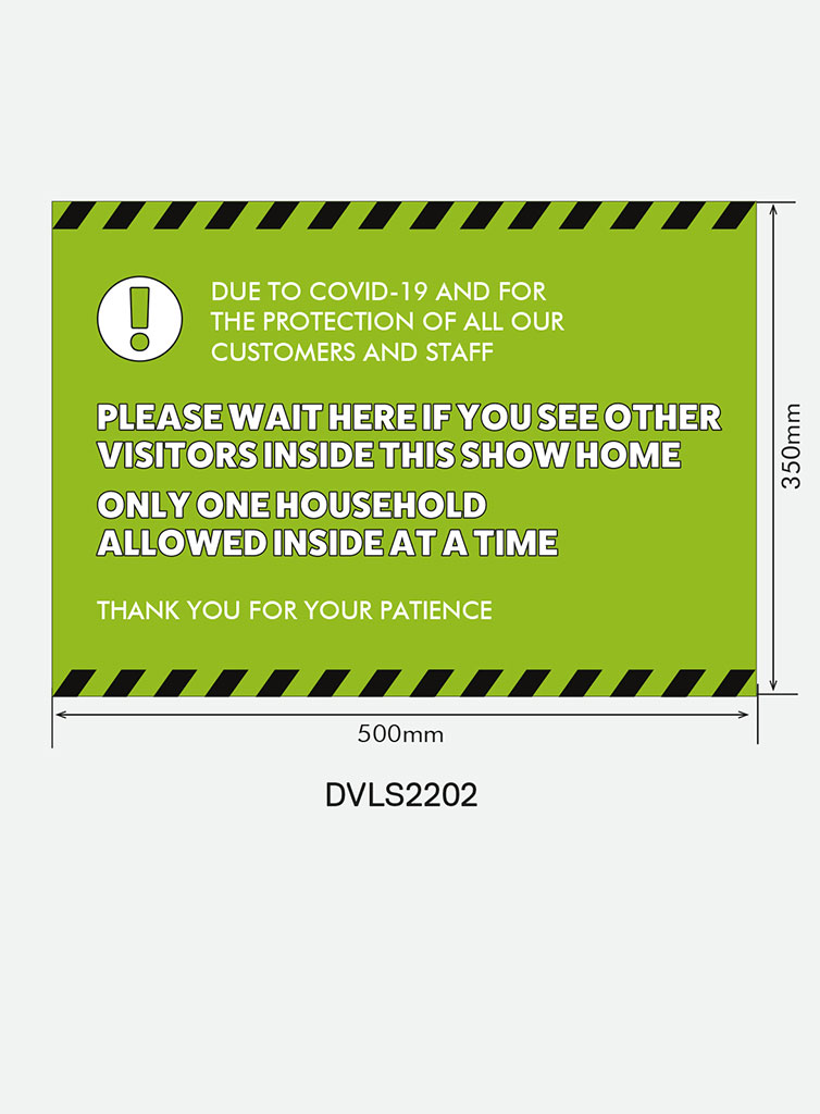 Entrance Sign for Windows and Walls – `Please Wait Here` (Landscape)
