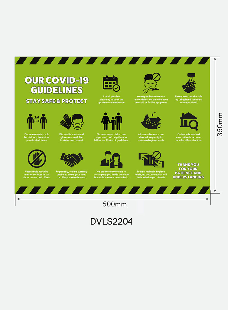 Entrance Sign for Windows and Walls – `Covid Guidelines` (Landscape)